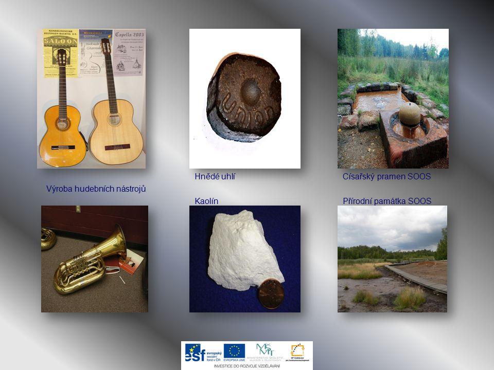 Hnědé uhlí Císařský pramen SOOS Výroba hudebních nástrojů Kaolín Přírodní památka SOOS