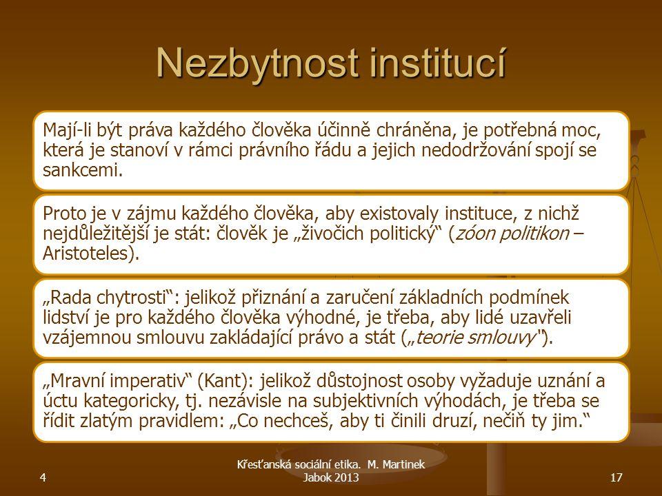 Křesťanská sociální etika. M. Martinek Jabok 2013