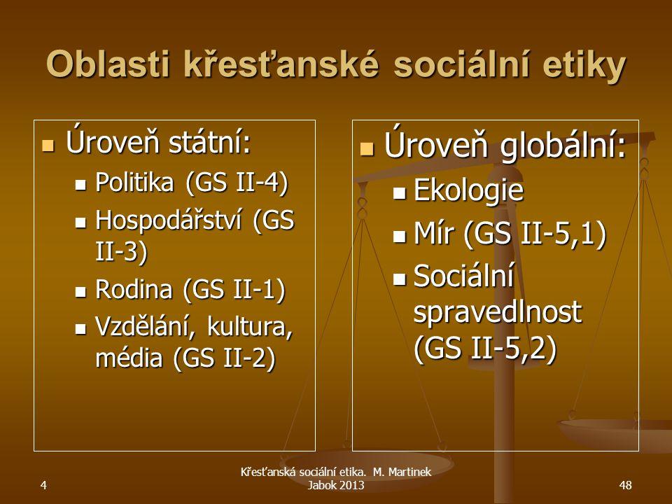 Oblasti křesťanské sociální etiky