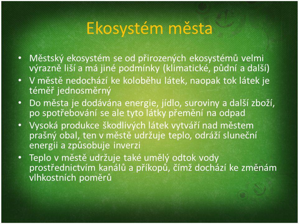 Ekosystém města Městský ekosystém se od přirozených ekosystémů velmi výrazně liší a má jiné podmínky (klimatické, půdní a další)