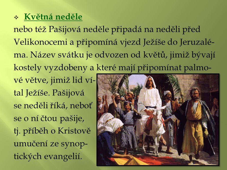 Květná neděle nebo též Pašijová neděle připadá na neděli před. Velikonocemi a připomíná vjezd Ježíše do Jeruzalé-