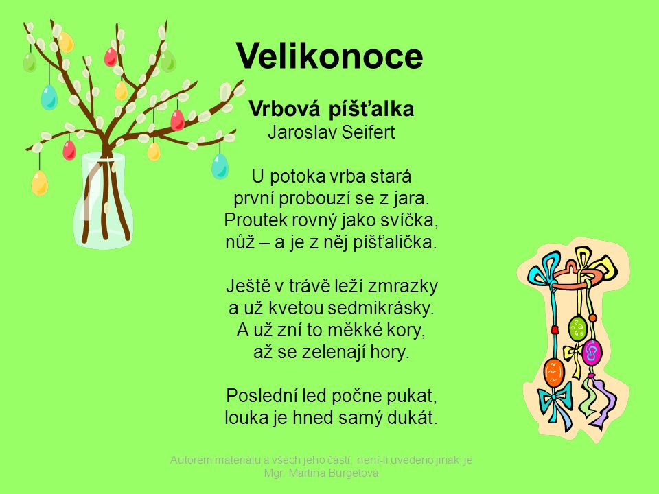 Velikonoce Vrbová píšťalka Jaroslav Seifert U potoka vrba stará