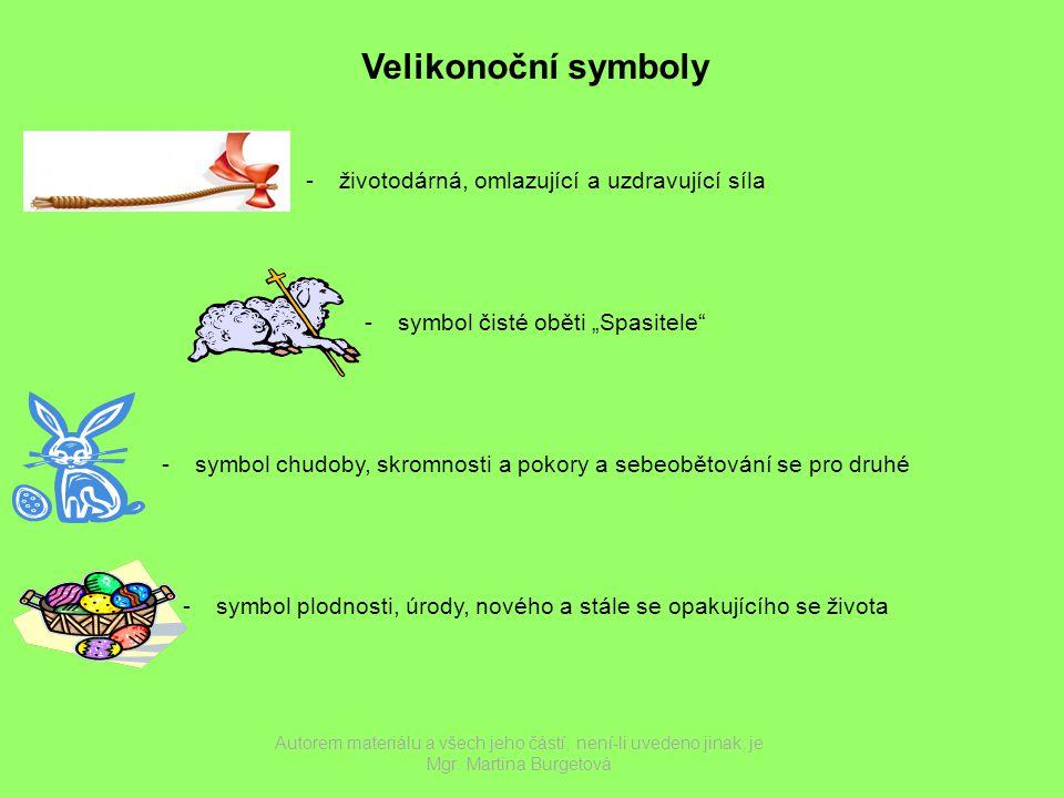 Velikonoční symboly životodárná, omlazující a uzdravující síla