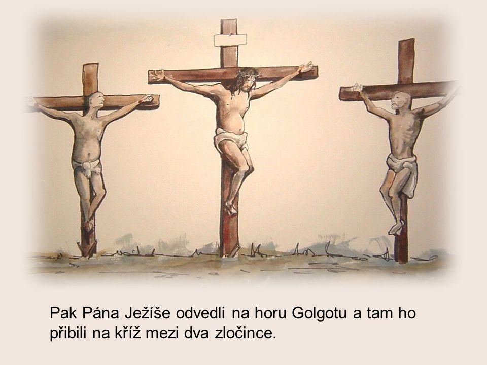 Pak Pána Ježíše odvedli na horu Golgotu a tam ho přibili na kříž mezi dva zločince.