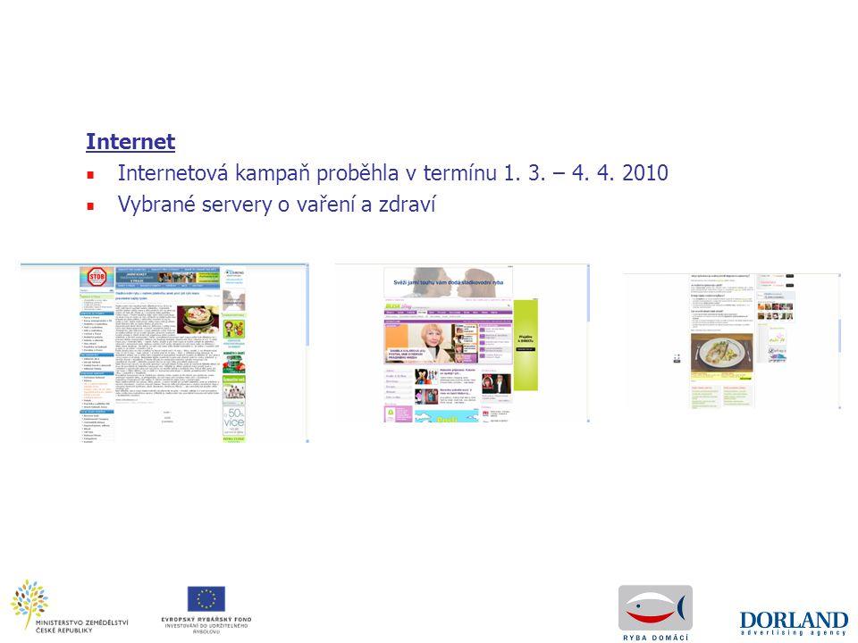 Internet Internetová kampaň proběhla v termínu 1. 3. – 4. 4. 2010 Vybrané servery o vaření a zdraví