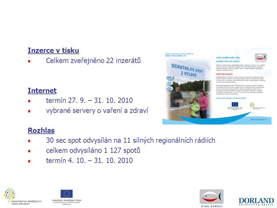 Inzerce v tisku Celkem zveřejněno 22 inzerátů. Internet. termín 27. 9. – 31. 10. 2010. vybrané servery o vaření a zdraví.