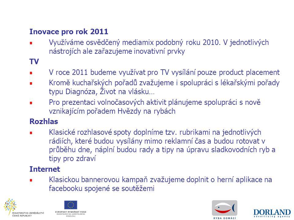 Inovace pro rok 2011 Využíváme osvědčený mediamix podobný roku 2010. V jednotlivých nástrojích ale zařazujeme inovativní prvky.