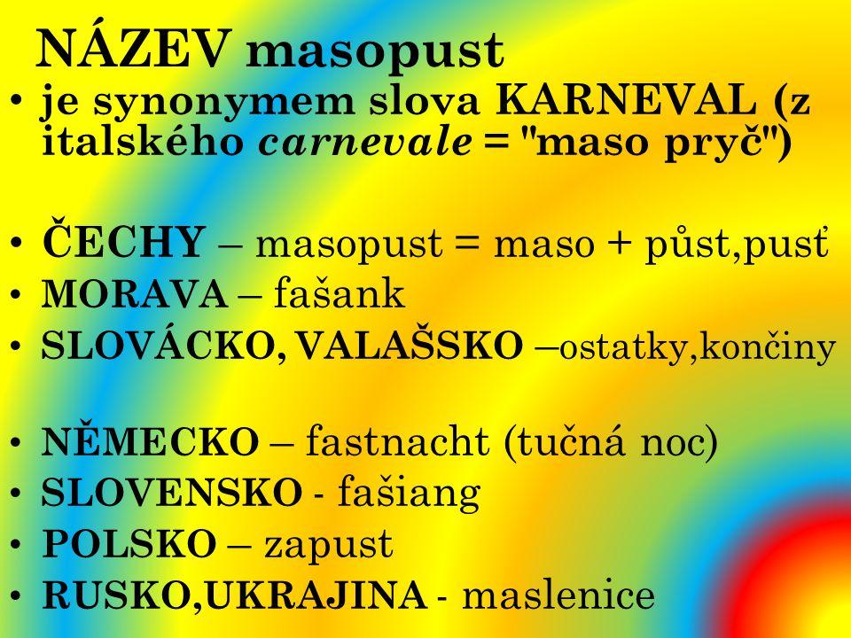 NÁZEV masopust je synonymem slova KARNEVAL (z italského carnevale = maso pryč ) ČECHY – masopust = maso + půst,pusť.