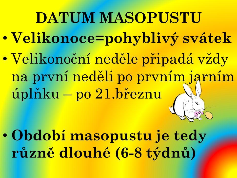 DATUM MASOPUSTU Velikonoce=pohyblivý svátek. Velikonoční neděle připadá vždy na první neděli po prvním jarním úplňku – po 21.březnu.