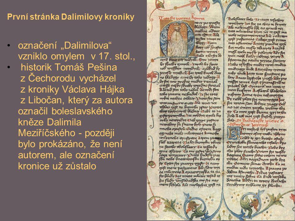 """označení """"Dalimilova vzniklo omylem v 17. stol.,"""