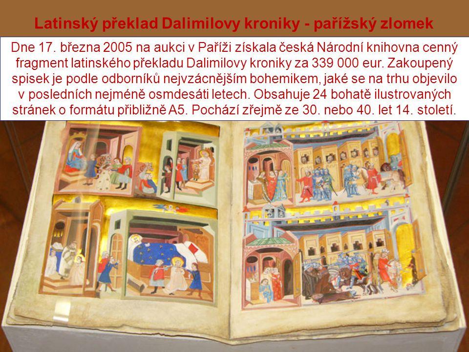 Latinský překlad Dalimilovy kroniky - pařížský zlomek