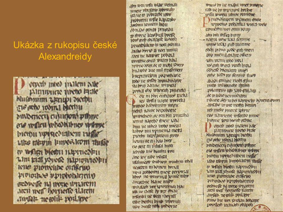 Ukázka z rukopisu české Alexandreidy