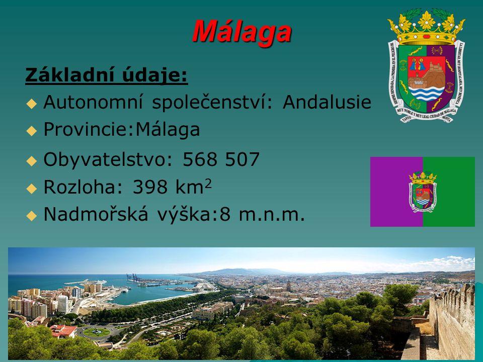 Málaga Základní údaje: Autonomní společenství: Andalusie