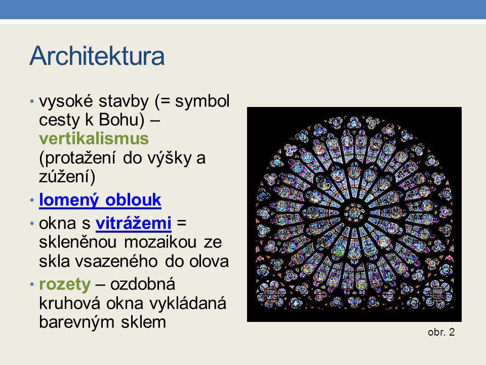 Architektura vysoké stavby (= symbol cesty k Bohu) – vertikalismus (protažení do výšky a zúžení) lomený oblouk.