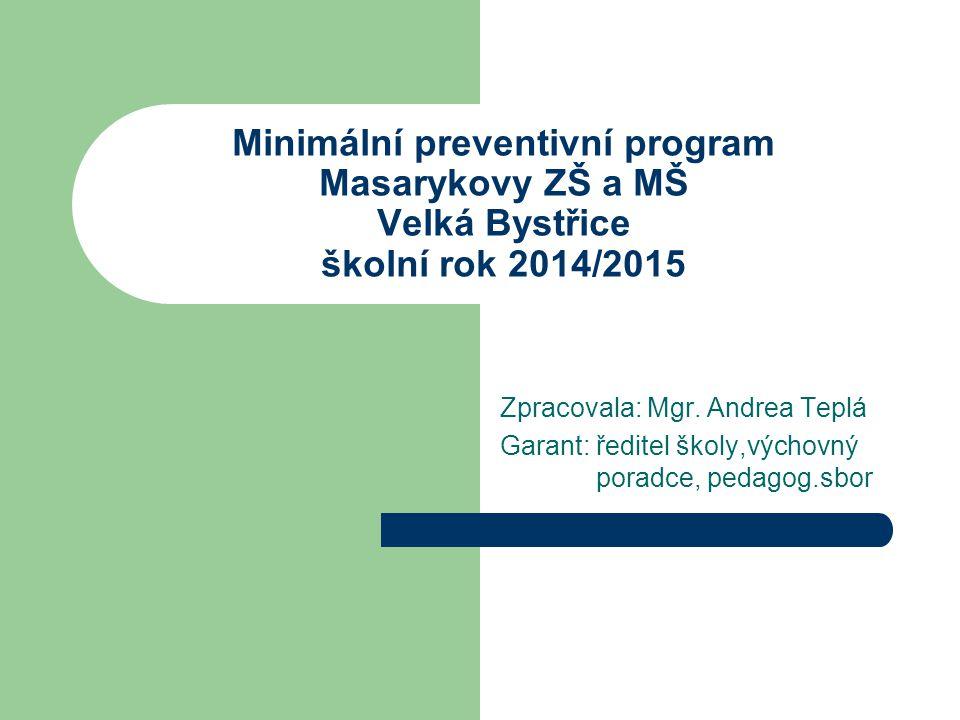 Minimální preventivní program Masarykovy ZŠ a MŠ Velká Bystřice školní rok 2014/2015