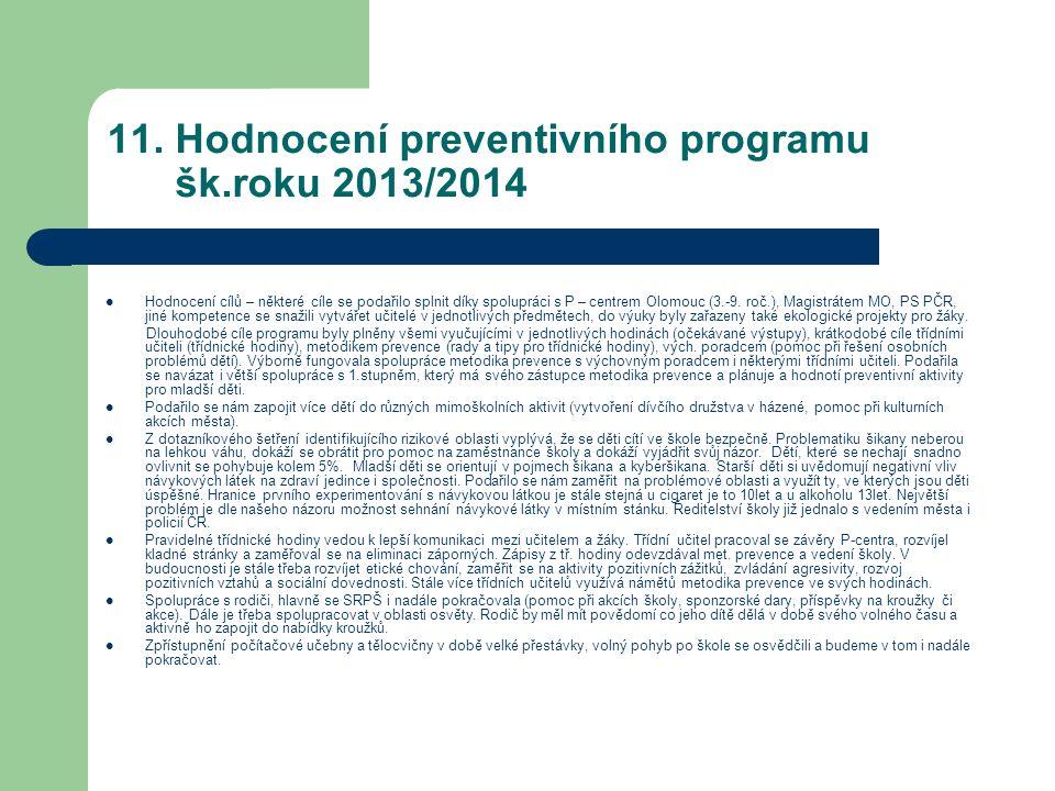 11. Hodnocení preventivního programu šk.roku 2013/2014