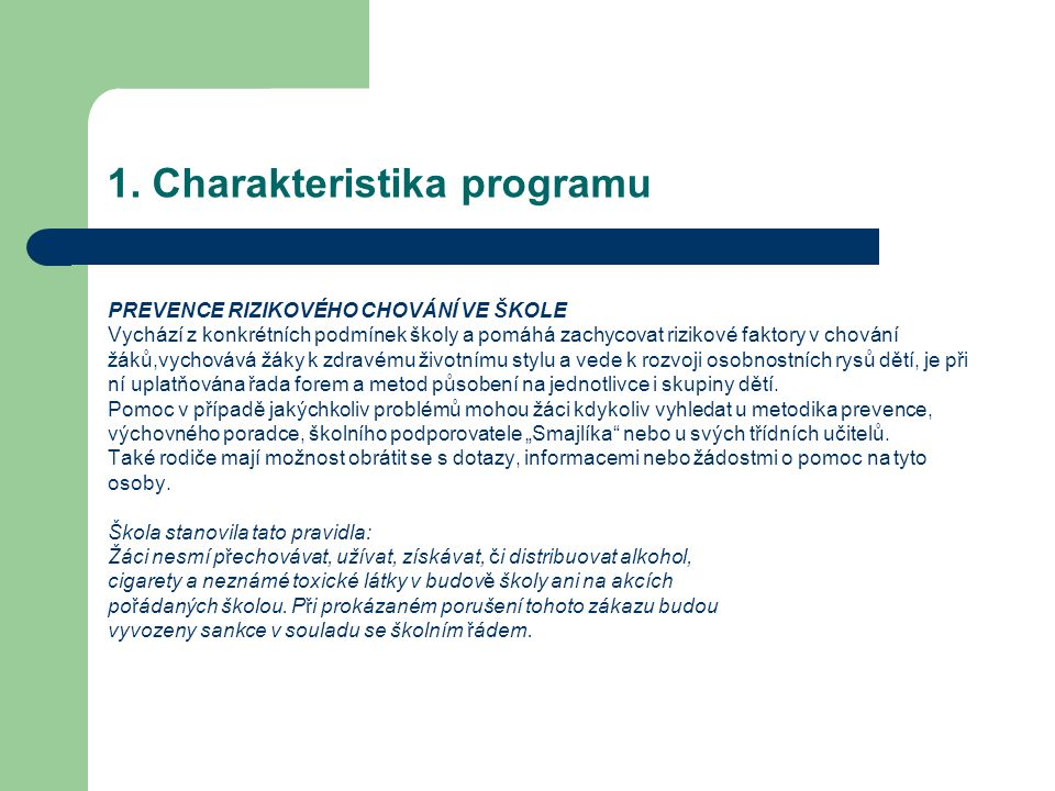 1. Charakteristika programu