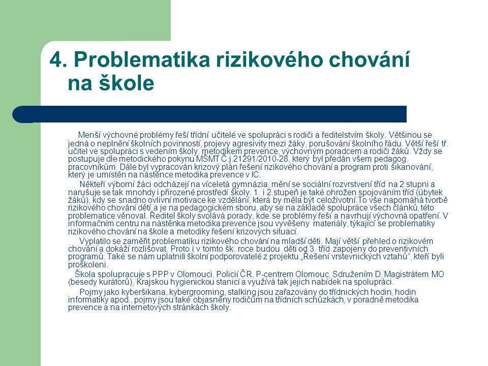 4. Problematika rizikového chování na škole
