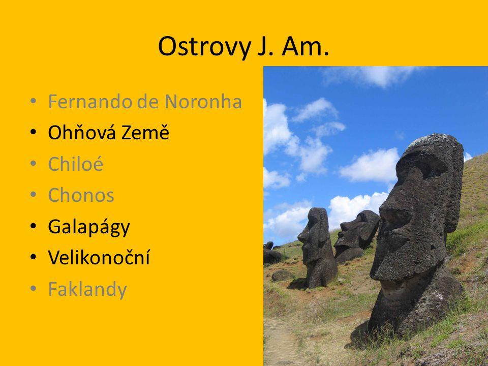 Ostrovy J. Am. Fernando de Noronha Ohňová Země Chiloé Chonos Galapágy