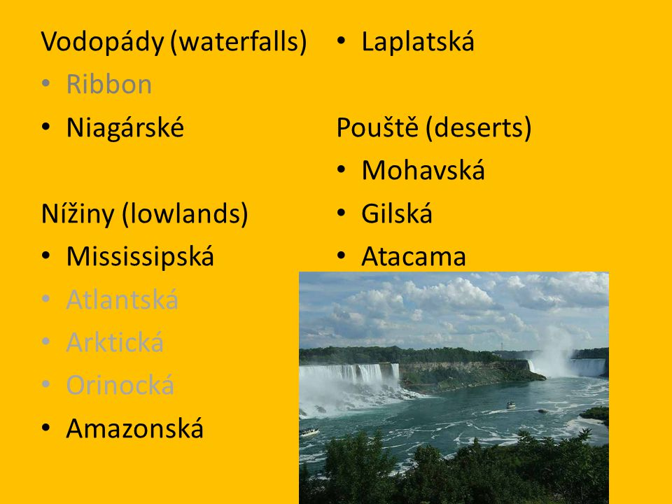 Vodopády (waterfalls)
