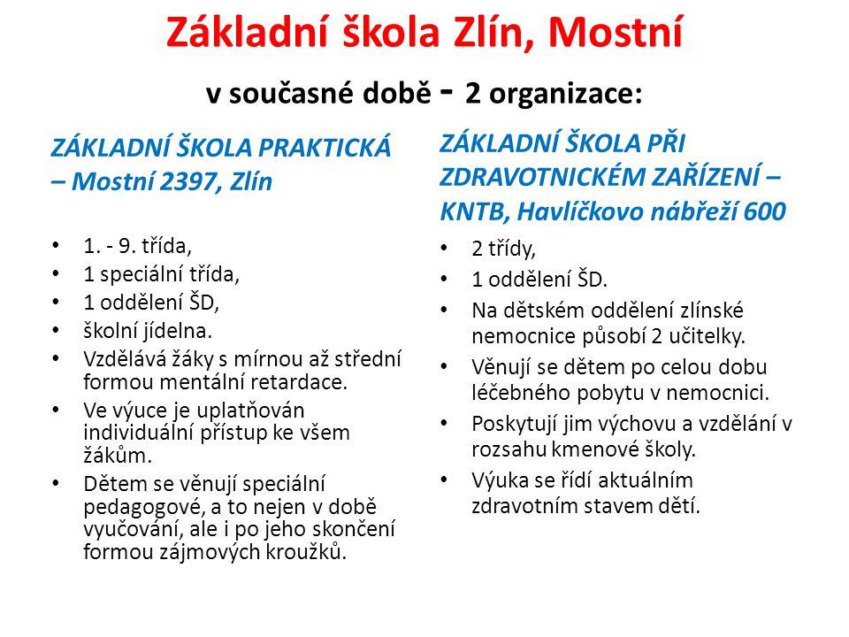 Základní škola Zlín, Mostní v současné době - 2 organizace: