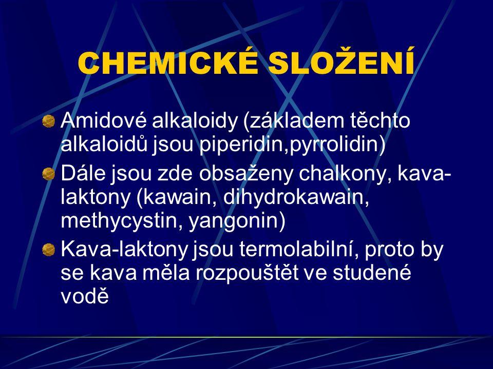 CHEMICKÉ SLOŽENÍ Amidové alkaloidy (základem těchto alkaloidů jsou piperidin,pyrrolidin)
