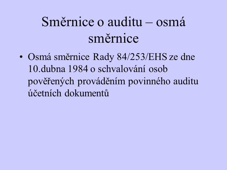 Směrnice o auditu – osmá směrnice