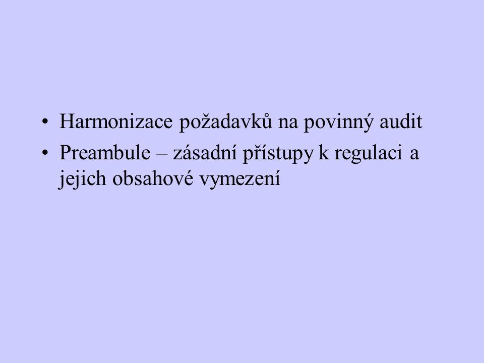 Harmonizace požadavků na povinný audit