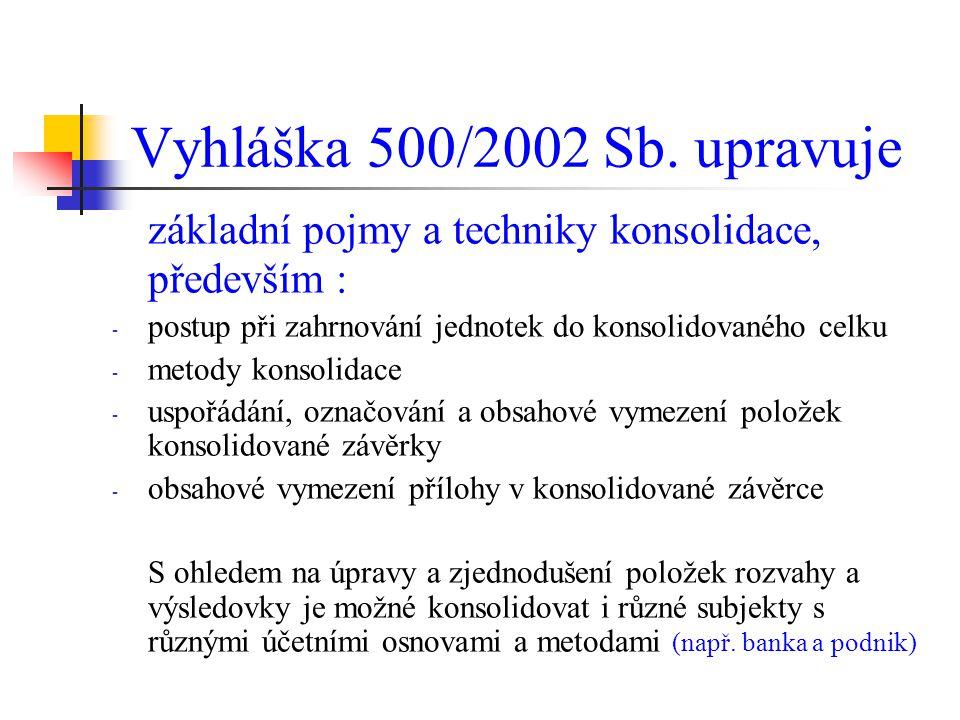 Vyhláška 500/2002 Sb. upravuje základní pojmy a techniky konsolidace, především : postup při zahrnování jednotek do konsolidovaného celku.