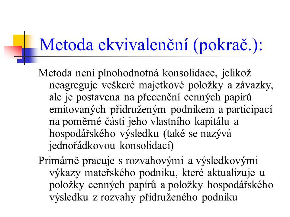 Metoda ekvivalenční (pokrač.):