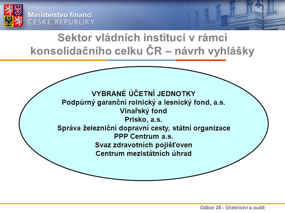 Sektor vládních institucí v rámci konsolidačního celku ČR – návrh vyhlášky