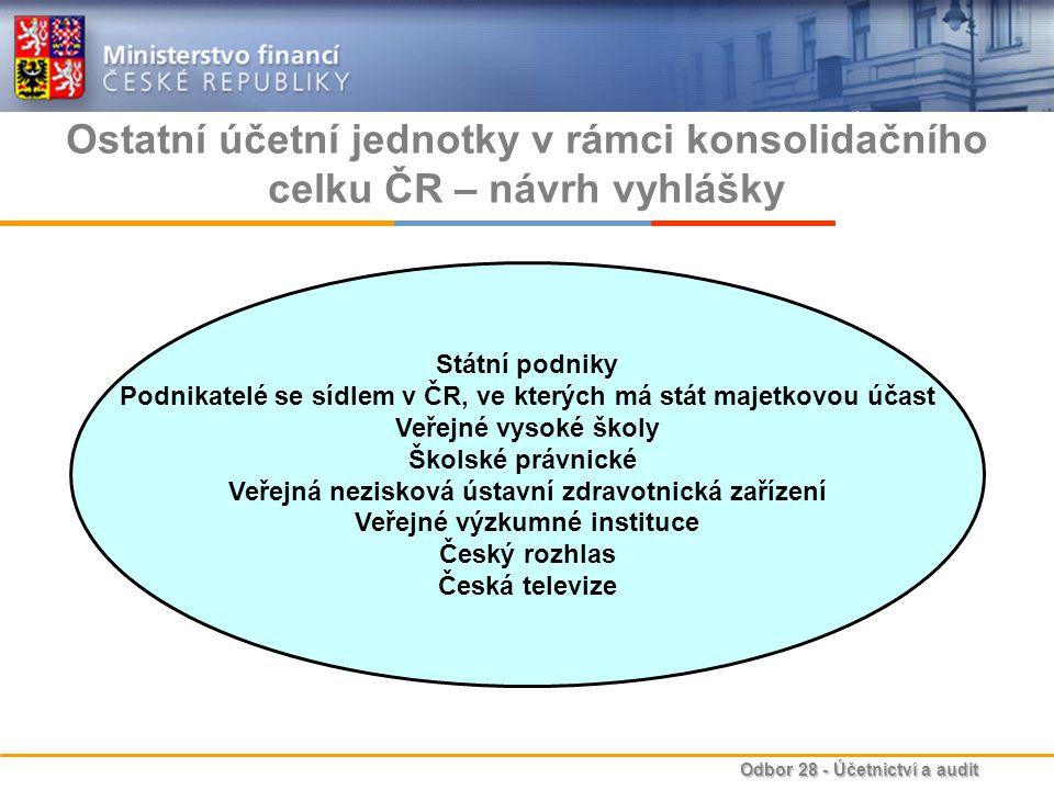 Ostatní účetní jednotky v rámci konsolidačního celku ČR – návrh vyhlášky