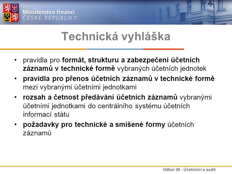 Technická vyhláška pravidla pro formát, strukturu a zabezpečení účetních záznamů v technické formě vybraných účetních jednotek.
