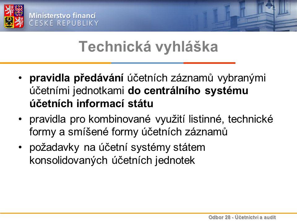 Technická vyhláška pravidla předávání účetních záznamů vybranými účetními jednotkami do centrálního systému účetních informací státu.