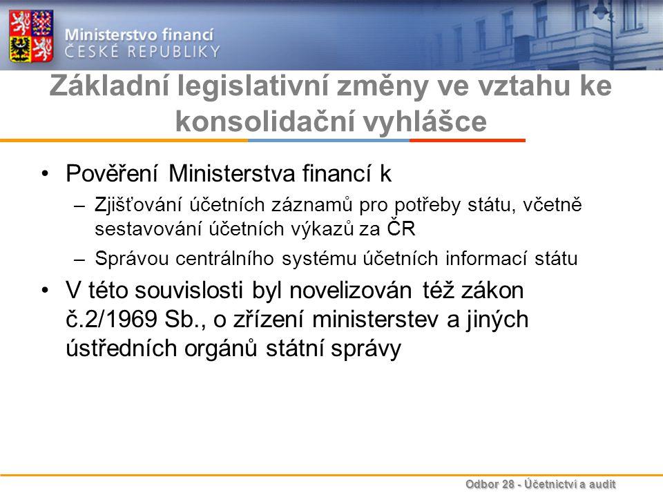 Základní legislativní změny ve vztahu ke konsolidační vyhlášce