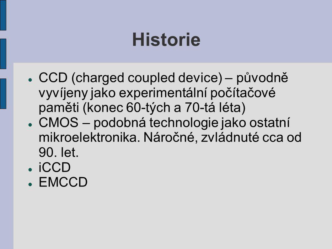 Historie CCD (charged coupled device) – původně vyvíjeny jako experimentální počítačové paměti (konec 60-tých a 70-tá léta)