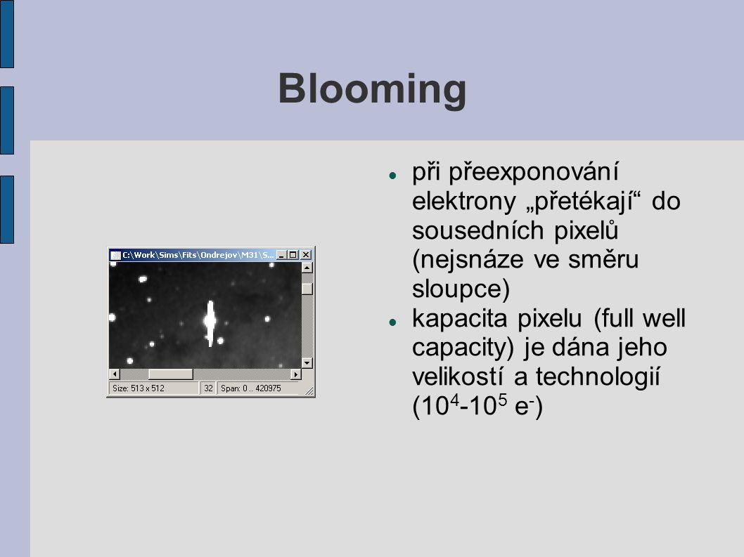 """Blooming při přeexponování elektrony """"přetékají do sousedních pixelů (nejsnáze ve směru sloupce)"""