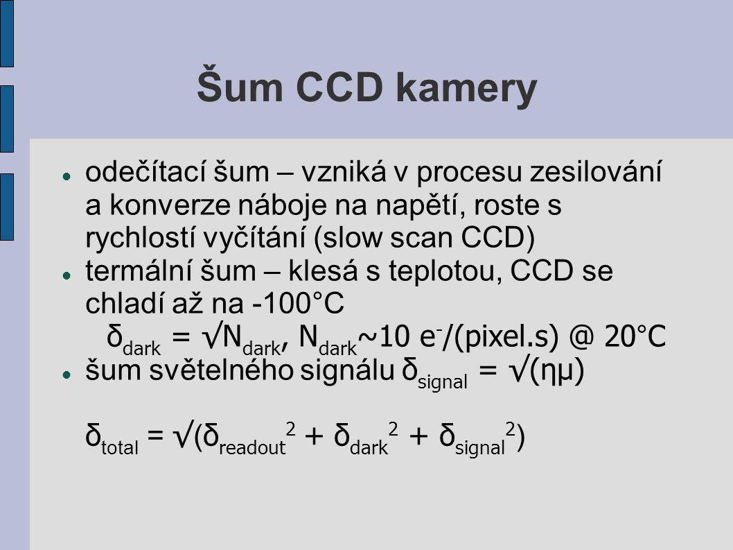 Šum CCD kamery odečítací šum – vzniká v procesu zesilování a konverze náboje na napětí, roste s rychlostí vyčítání (slow scan CCD)