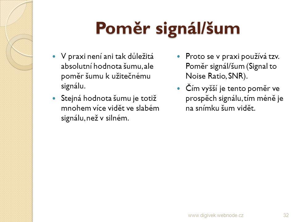 Poměr signál/šum V praxi není ani tak důležitá absolutní hodnota šumu, ale poměr šumu k užitečnému signálu.