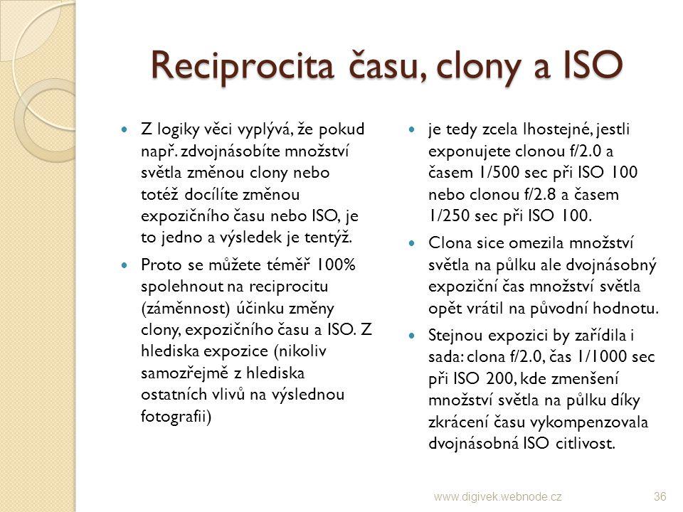 Reciprocita času, clony a ISO