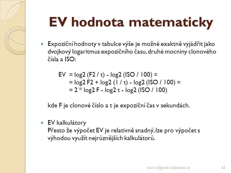 EV hodnota matematicky