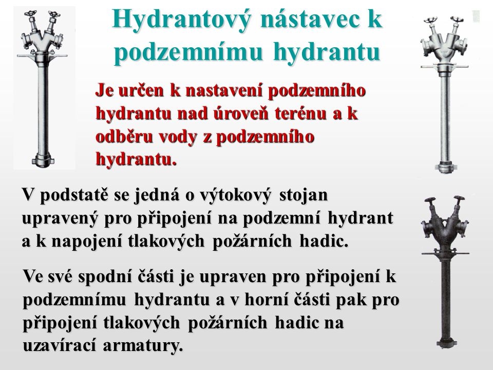 Hydrantový nástavec k podzemnímu hydrantu