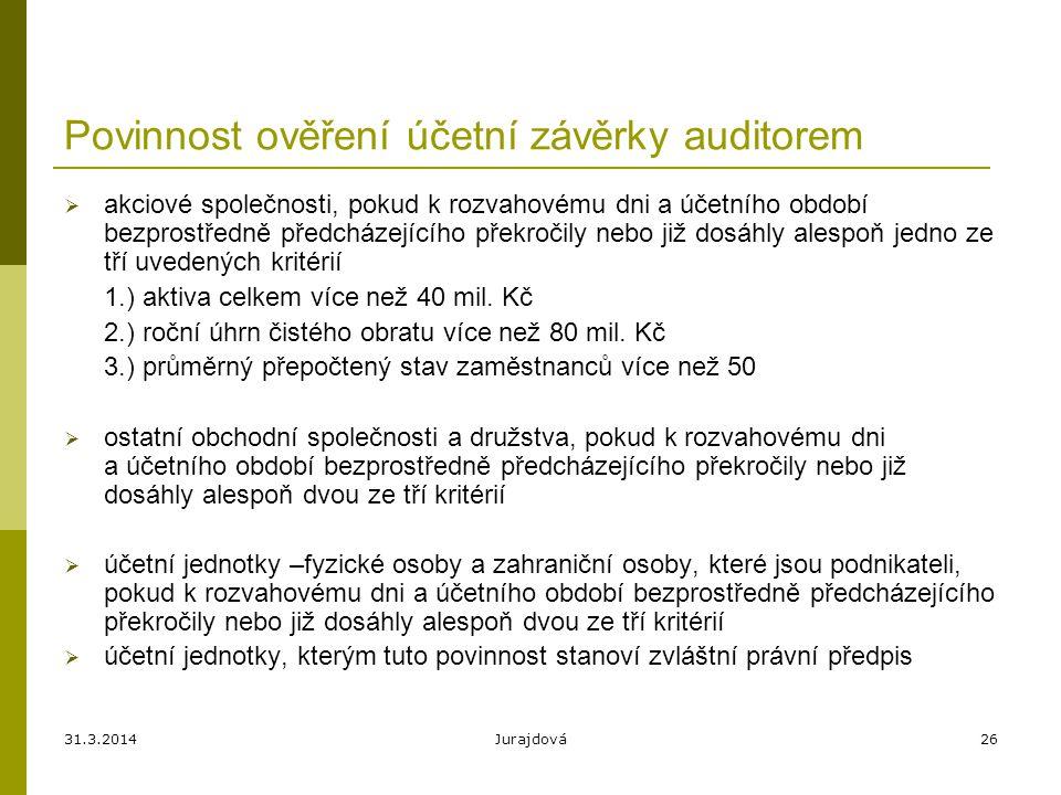 Povinnost ověření účetní závěrky auditorem