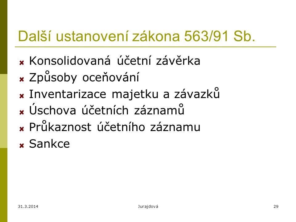 Další ustanovení zákona 563/91 Sb.