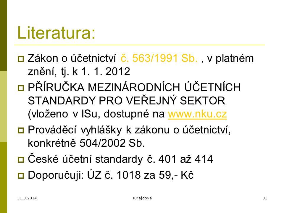 Literatura: Zákon o účetnictví č. 563/1991 Sb. , v platném znění, tj. k 1. 1. 2012.