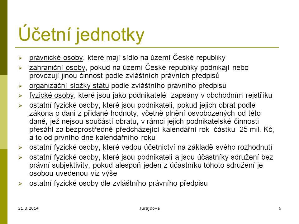 Účetní jednotky právnické osoby, které mají sídlo na území České republiky.