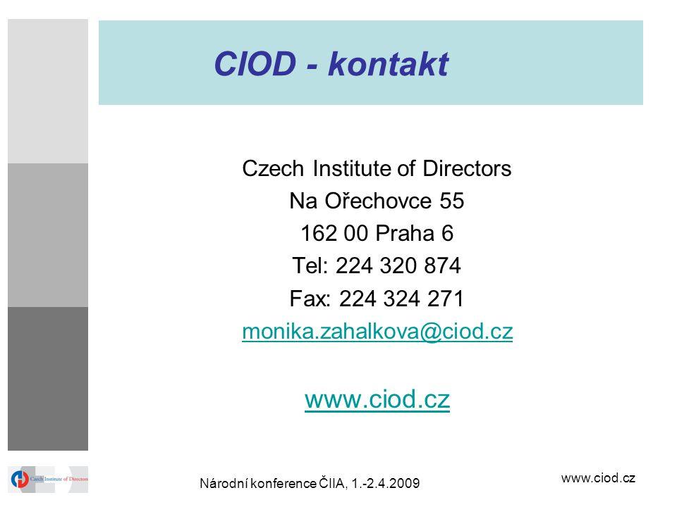 CIOD - kontakt www.ciod.cz Czech Institute of Directors