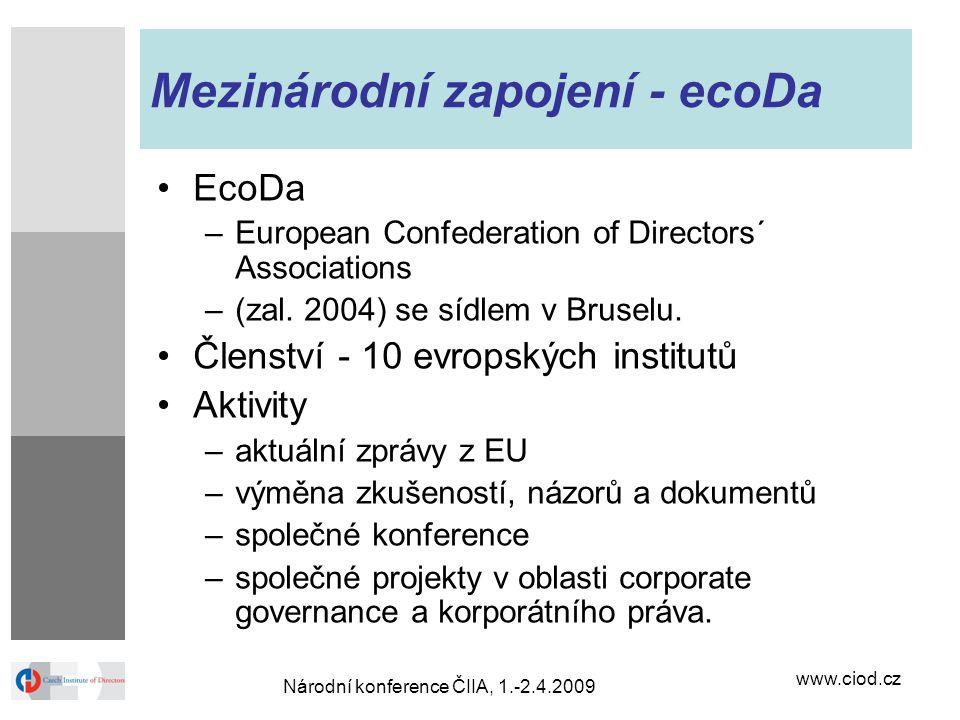 Mezinárodní zapojení - ecoDa