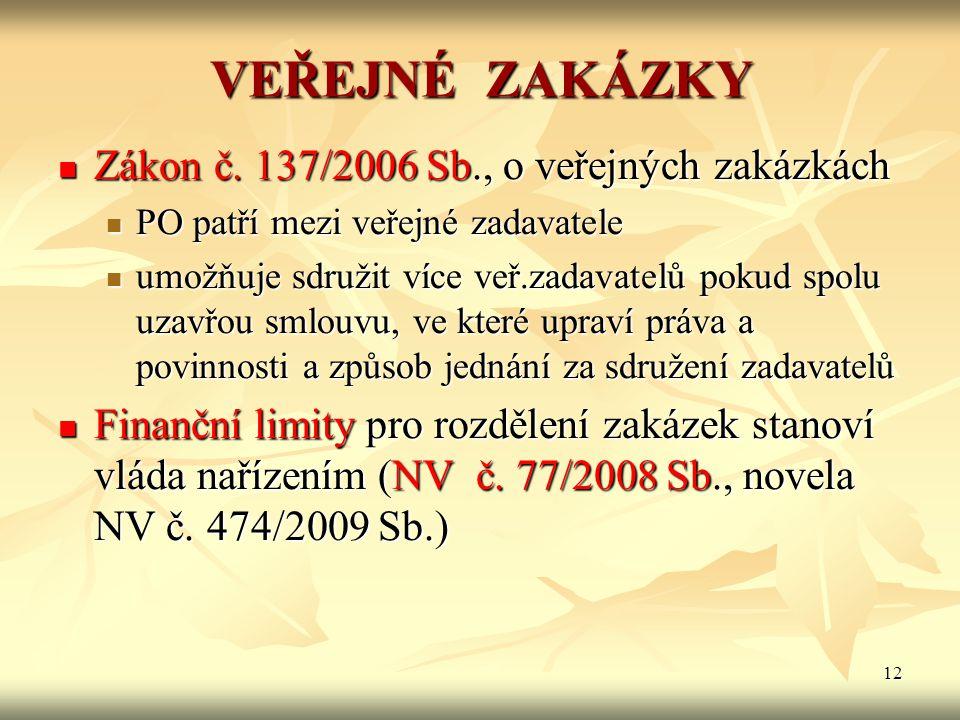 VEŘEJNÉ ZAKÁZKY Zákon č. 137/2006 Sb., o veřejných zakázkách