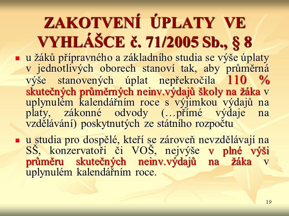 ZAKOTVENÍ ÚPLATY VE VYHLÁŠCE č. 71/2005 Sb., § 8
